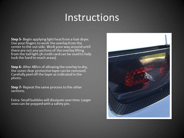 Camaro Tail Light Smoked Ssrs Tint Overlay Kit Instructions Decal