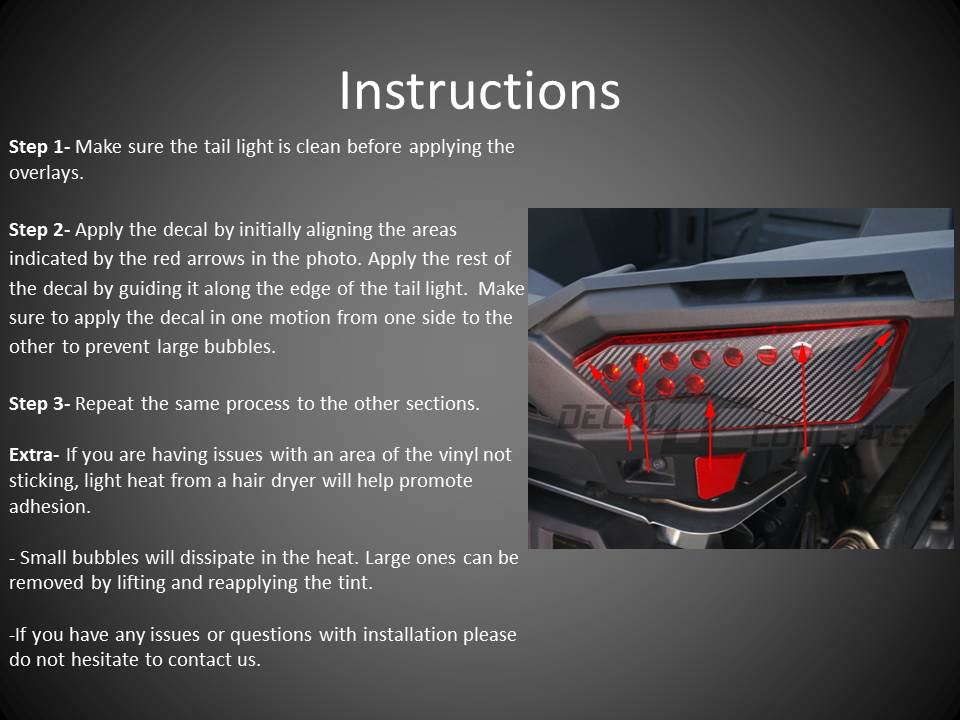 Polaris RZR 1000 Taillight and Headlight Cover Instructions (Smoked
