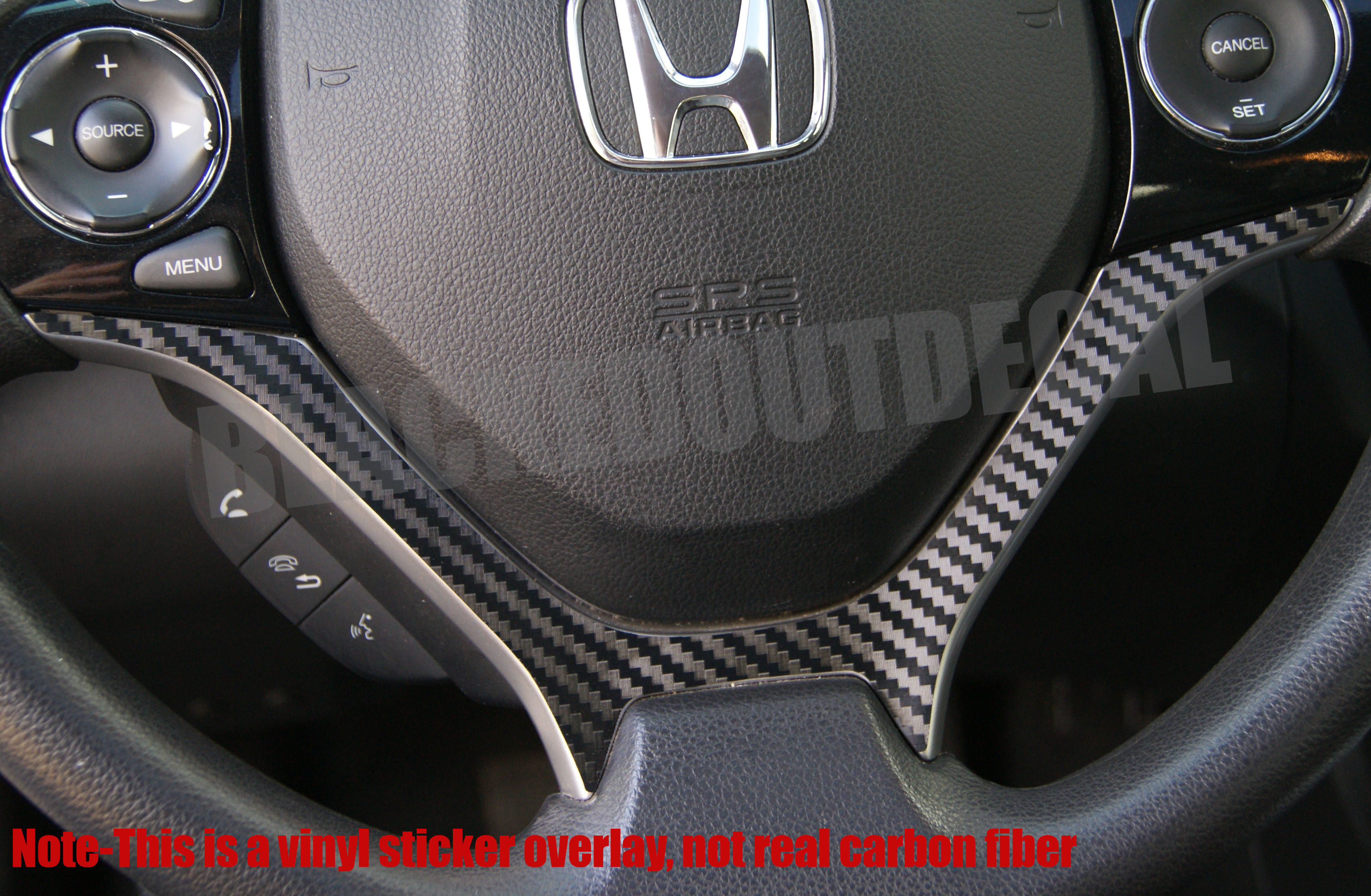 Honda Civic Carbon Fiber Steering Wheel Accent Decal (2012-2015) | Decal  Concepts